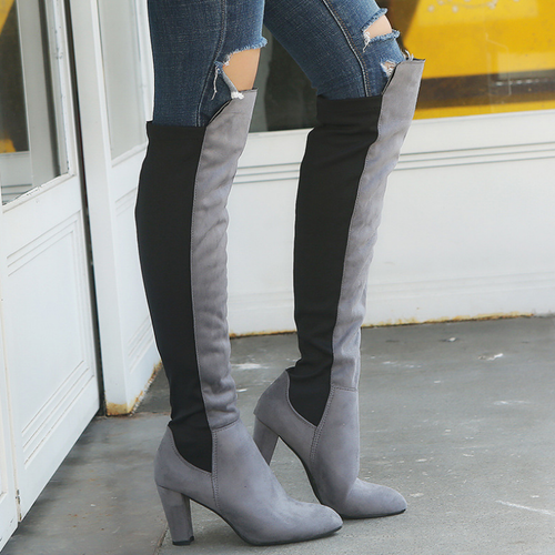 Women Suede Chunky Heel Patchwork Color Over Knee Boots