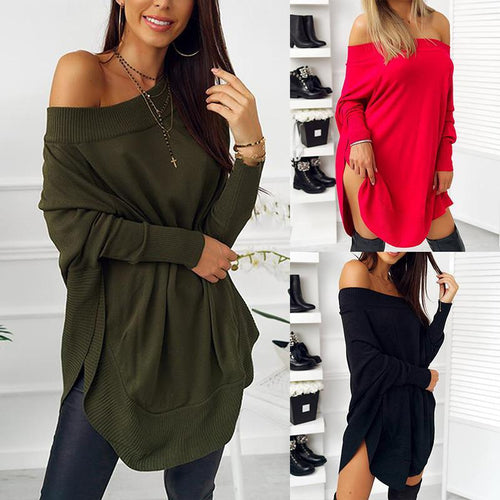 Loose Long Sleeve Sexy Off Shoulder Patchwork T-Shirts