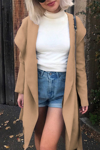 Hooded  Belt  Plain Trench Coat