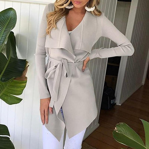 Fashion Lapel Long Sleeve Belt Asymmetrical Hem Coat