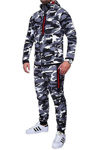 Camouflage Zipper Pockets Sports Suit
