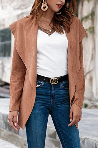 Lapel  Belt  Plain Trench Coat