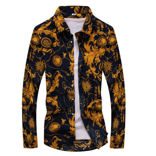 Men Casual Printed Button-Up Floral Shirts