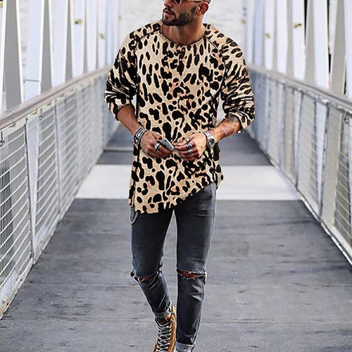 Fasion Mens Leopard Print Casual T-Shirts