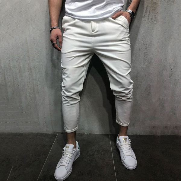 Fashion Mens Solid Color Casual Pants