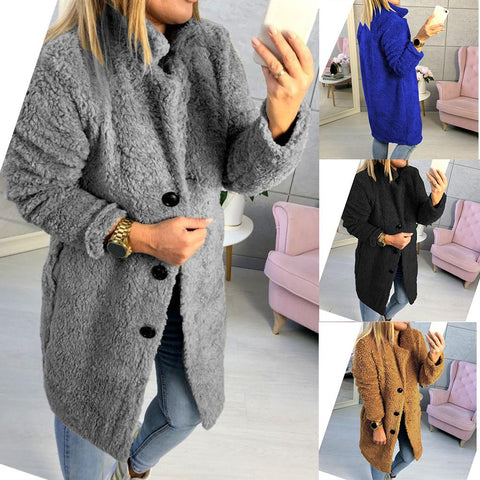 Lapel Long Sleeve Button Plain Chic Fur Coats
