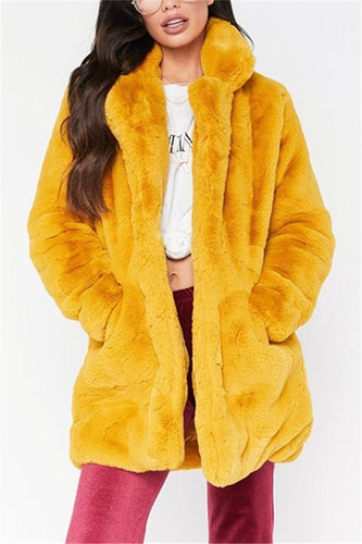 Pure Color Plain Loose Fur Coat