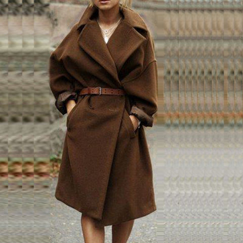 Wool Overcoat Turn-Down Collar Loose Style