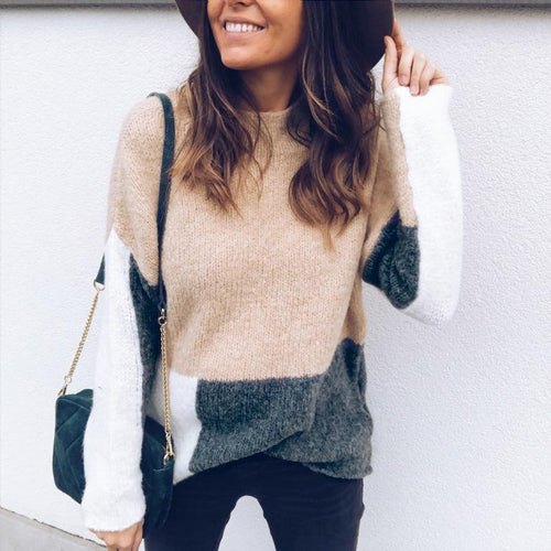 Chic Casual Contrast Color Block Sweater