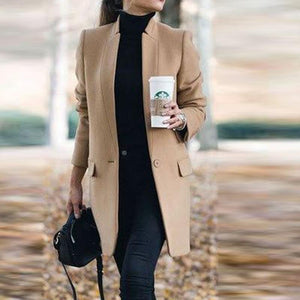 Solid Color Stand-Up Collar Pocket Coat