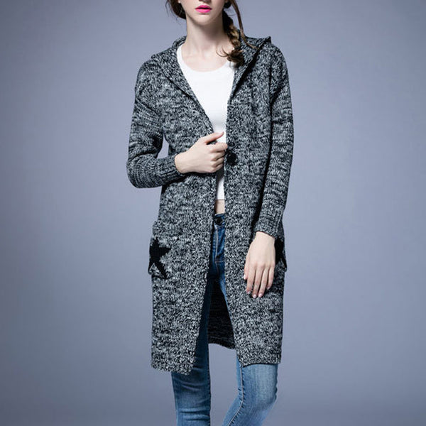 Fashion Long Hooded Pockets Knitted Outwear