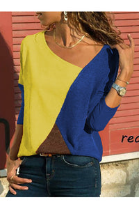 Asymmetric Neck  Patchwork Contrast Stitching T-Shirts