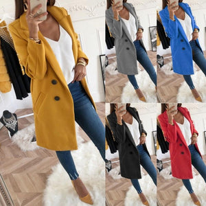 Lapel Long Sleeve Plain Button Pocket Casual Coats