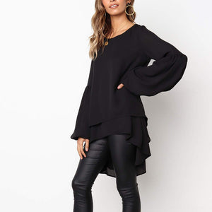 Round Neck Long Lantern Sleeve Plain Blouses
