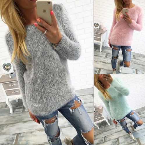 Plush Warm Solid Color Long Sleeve Sweaters