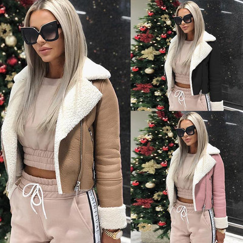 Lapel Long Sleeve Zipper Fashion Jackets