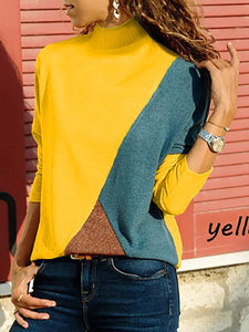 High Neck  Patchwork  Contrast Stitching  Color Block Sweaters