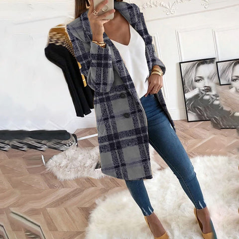 Fold-Over Collar  Double Breasted Slit Pocket  Contrast Stitching  Plaid Blazers