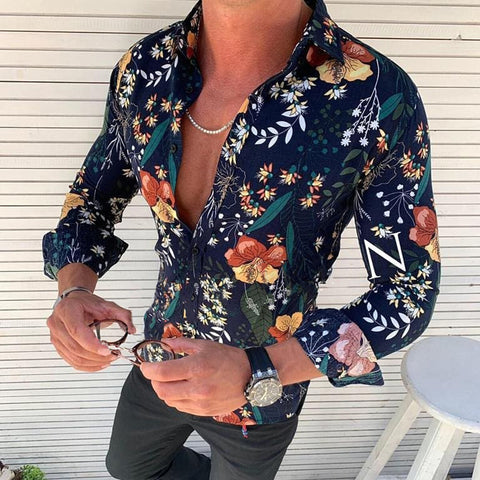 Fashion Printed Colour Slim Fit Shirt