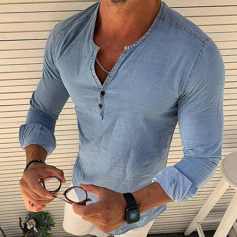 Casual Slim Fit Pure Colour V Neck Shirt