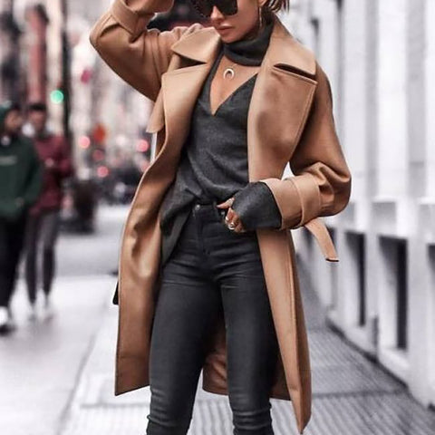 Fashion Fold Over Collar Pure Color Coat