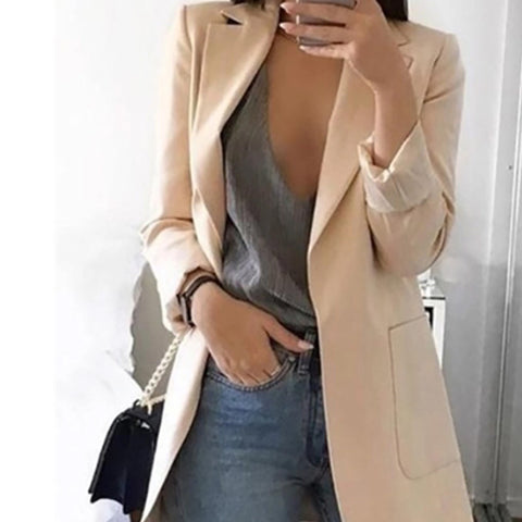 2019 CEA Casual Pure Color Lapel Slim Cardigan Style Suit Jacket