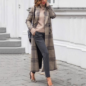 Elegant Folded Collar Plaid With Covered Pocket Coat