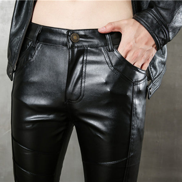 Casual Pengkla Chain Slim-Fit Stitching Leather Pants
