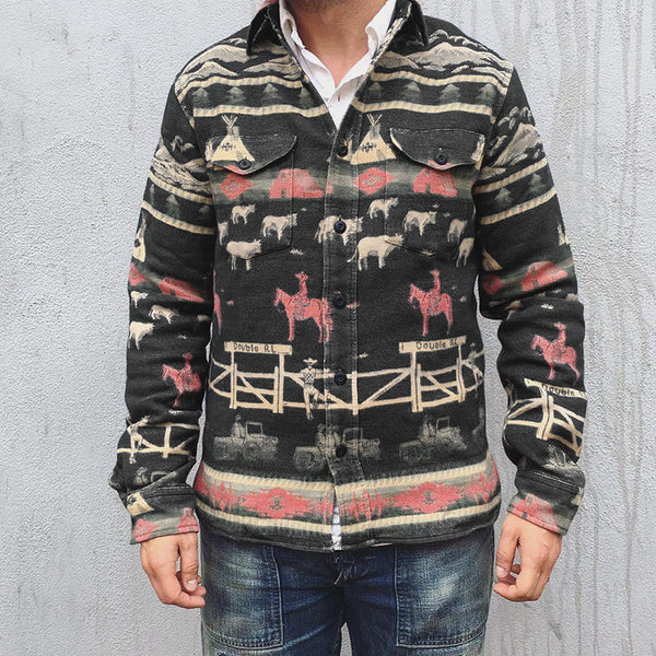 Men's Printed Pocket Button Jacket
