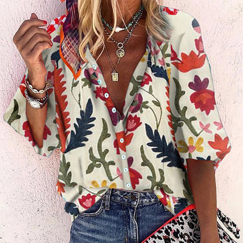 Casual Printed Colour Single Breasted Long Sleeve Loose Blouse