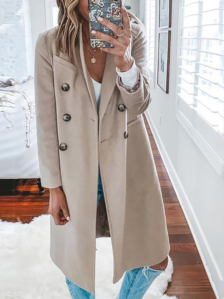 Classic Single-Breasted Solid Color Coat
