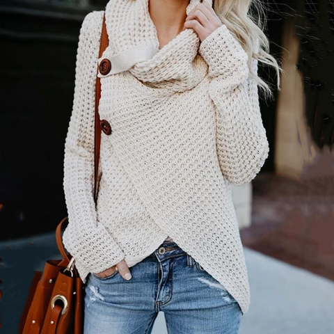 Asymmetric Neck Button Plain Sweaters