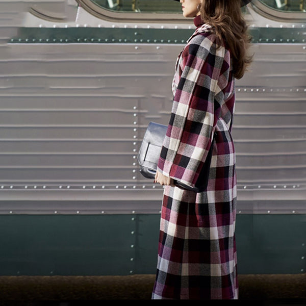 Fashion Plaid Print Large Lapel Trumpet Sleeve Overcoat