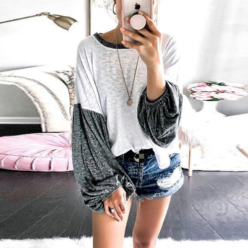 Round Neck  Patchwork  Lantern Sleeve Sweatershirts