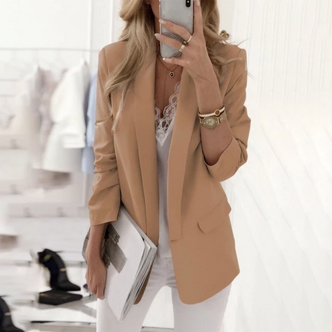 Fold Over Collar Plain Fashion Blazers
