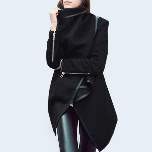 Stylish  With Zips Asymmetrical Overcoats