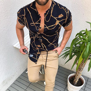 Vintage Line Pattern Short Sleeve Shirt