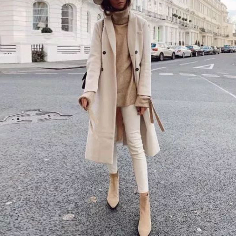 Casual solid color lapel double-breasted wool coat
