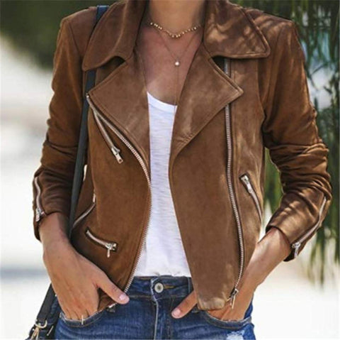 Notch Lapel  Zipper  Plain Jackets