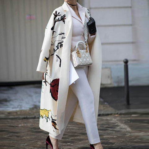 Casual Long Sleeve Printed Colour Loose Trench Coat