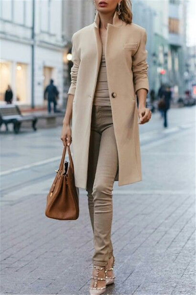 2019 CEA Women's Autumn And Winter Fashion Pure Color Coat