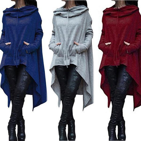 Solid Color Irregular Long Hooded Top