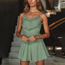 Backless bow spaghetti strap lace dress