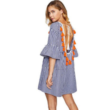 Tassel Tied Open Back Tiered Gingham Dress