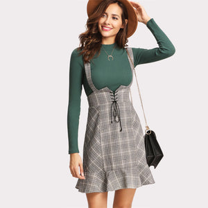 High Waist Plaid Lace Up Skirt