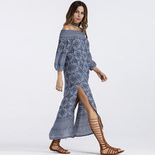 Off Shoulder Blue Maxi