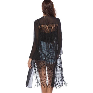 Black Tassel Beach Cover Up
