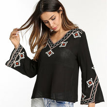 Embroidered Black V Neck