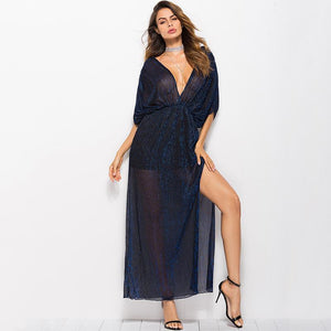 Dark Blue Sheer Long Maxi Dress