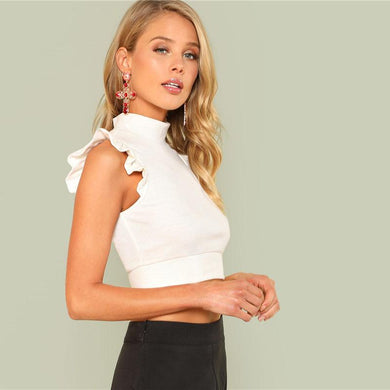 Ruffle Rib Knit Slim Crop Top